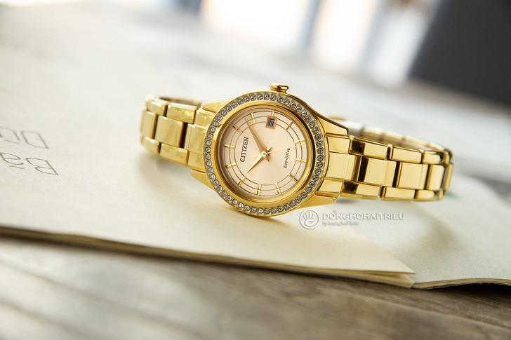 đồng hồ Citizen FE1122-88P: Những viên đá pha lê lấp lánh - Ảnh 1