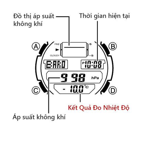 Cách Dùng Thermometer Đồng Hồ Casio OUTGEAR Đo Nhiệt Độ Nút SGW-400H-SGW-400HD