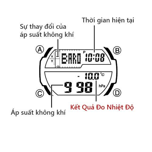 Cách Dùng Thermometer Đồng Hồ Casio OUTGEAR Đo Nhiệt Độ Nút SGW-450H-SGW-450HD