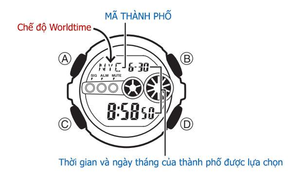 Chức Năng Worldtime Đồng Hồ G-Shock Sử Dụng Như Thế Nào Vị Trí Nút Bấm
