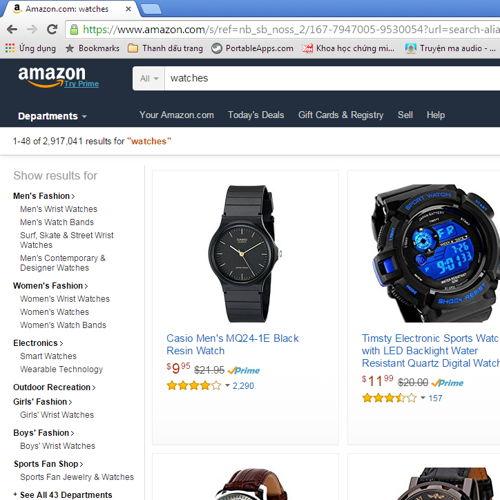 so sánh mua đồng hồ trên Amazon và Hải Triều Amazon