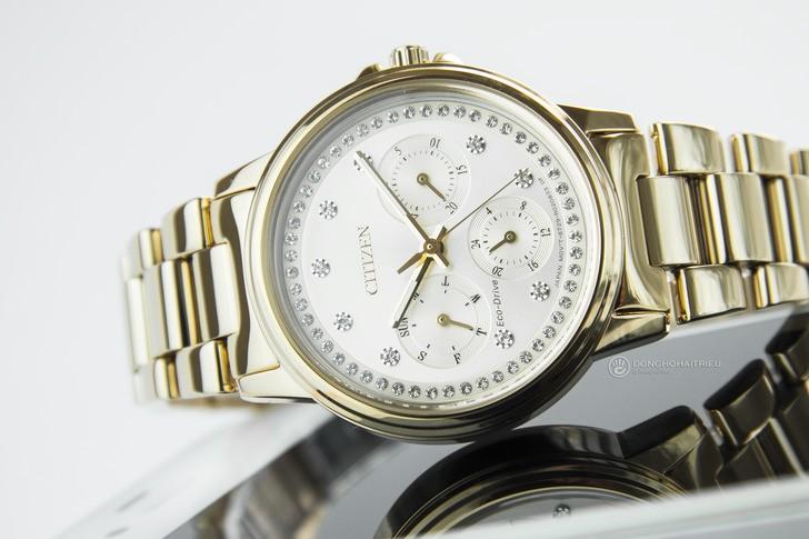 Đồng hồ Citizen FD2042-51P mạ vàng, đính pha lê sang trọng - Ảnh 3