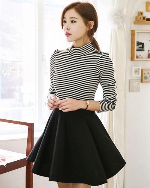chân váy công sở kiểu Hàn Quốc caro với chiếc áo khoác dạ dàng vest 8