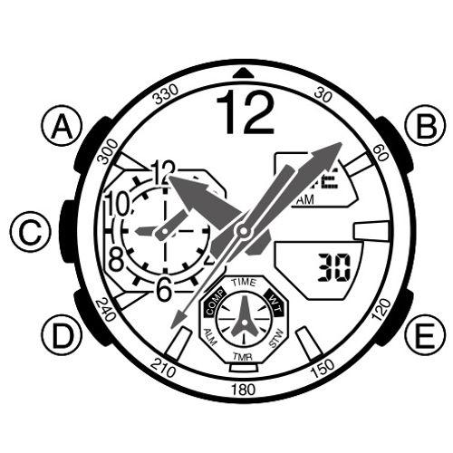 Cách Sử Dụng Chức Năng Báo Thức Đồng Hồ G-Shock GA-1100 Sơ Đồ Nút Bấm GA-1100