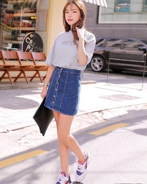 cách phối chân váy jeans công sở 1