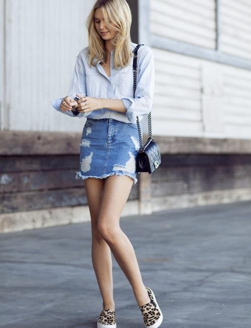 cách phối chân váy jeans công sở 3