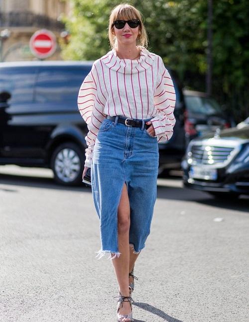 cách phối chân váy jeans công sở 5