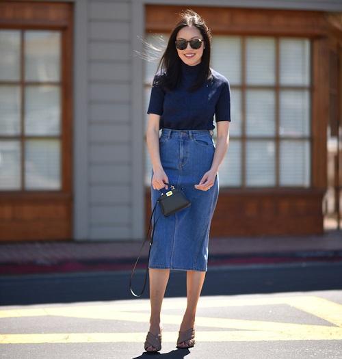 đa dạng kiểu chân váy jeans công sở cho phụ nữ 4