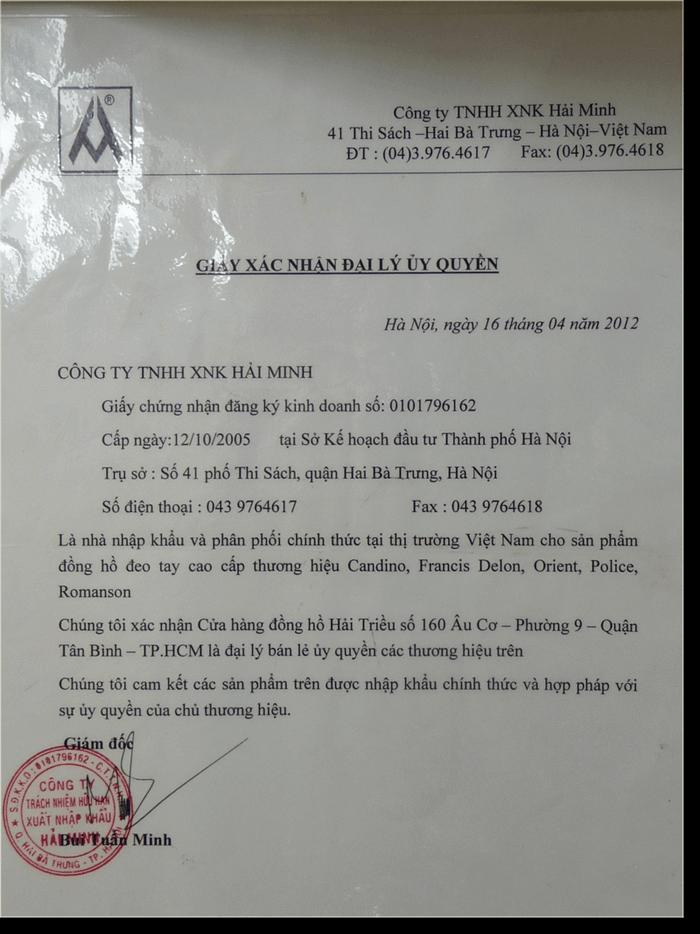 Có 7 Lý Do Vì Sao Nên Mua Đồng Hồ Orient Tại Hải Triều Giấy Chứng Nhận 2012