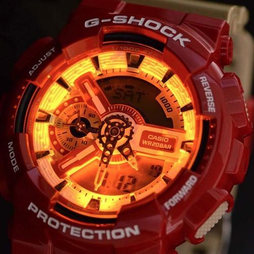 """Đánh Giá G-Shock """"Iron Man"""" GA-110CS-4ADR, Người Sắt Cực Ngầu Đèn LED Amber"""