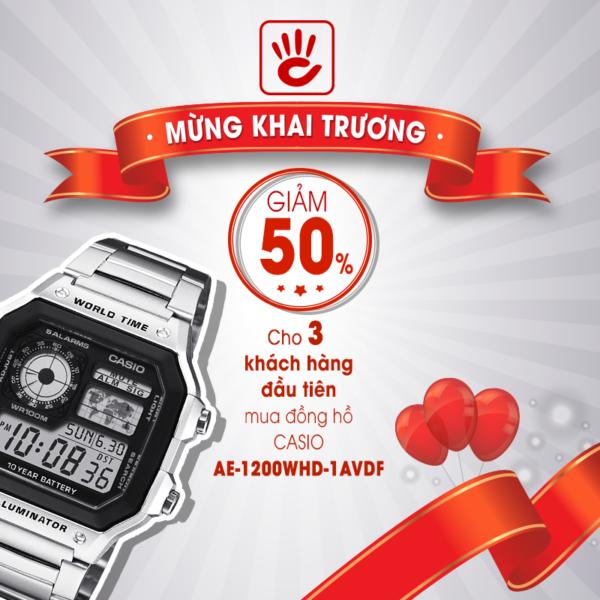 Bước Vào Đồng Hồ Hải Triều Phan Văn Trị Gò Vấp Trước Ngày Khai Trương Giảm 50% Casio AE-1200-WHD