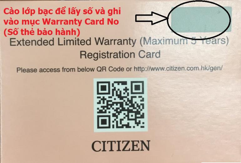 Triển Khai 5 Năm Bảo Hành Quốc Tế Cho Đồng Hồ Citizen Eco-Drive Phiếu Đăng Ký Bảo Hành