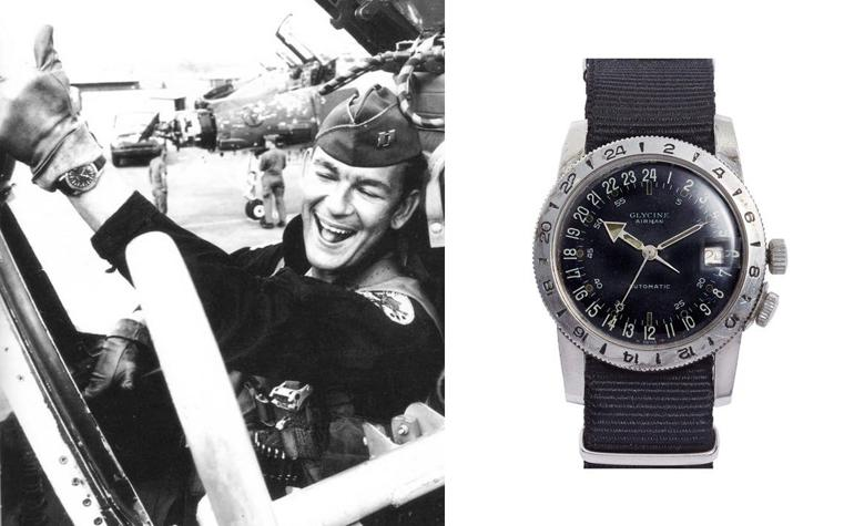 6 mẫu đồng hồ quân đội Mỹ đã dùng trong chiến tranh Việt Nam Glycine Airman Special trên tay phi công Mỹ trong chiến tranh Việt Nam
