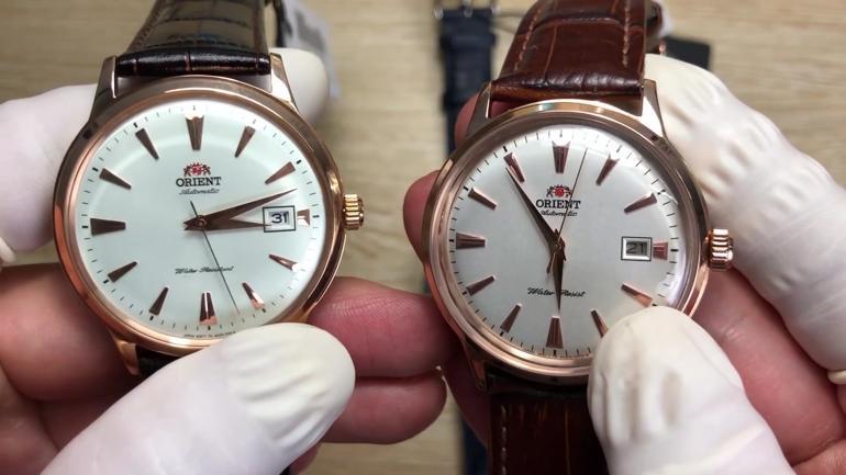Orient Bambino (trái) và Orient Bambino fake (phải)