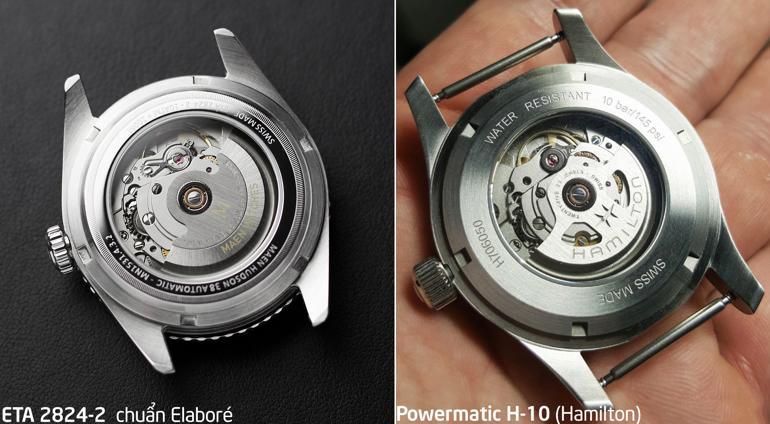 So sánh đồng hồ dùng máy ETA 2824-2 và Powermatic 80 máy ETA 2824-2 và máy H-10 (Powermatic 80 của Hamilton)