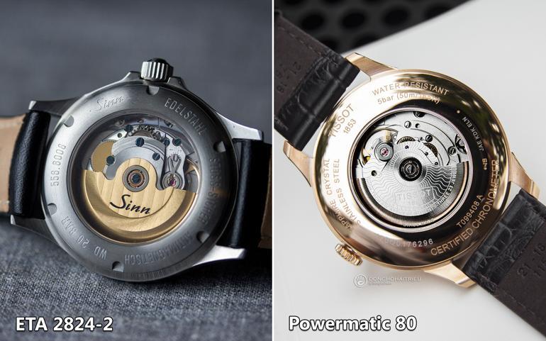 So sánh đồng hồ dùng máy ETA 2824-2 và Powermatic 80 - ETA 2824-2 - Sinn 556 I vàPowermatic 80 - Tissot T099.408.36.038.00
