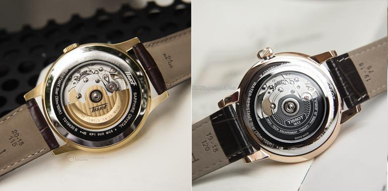 So sánh đồng hồ dùng máy ETA 2824-2 và Powermatic 80 Máy ETA 2824-2 (mẫu Tissot T019.430.36.031.01) và máy Powermatic 80 (mẫu Tissot T085.407.36.013.00)
