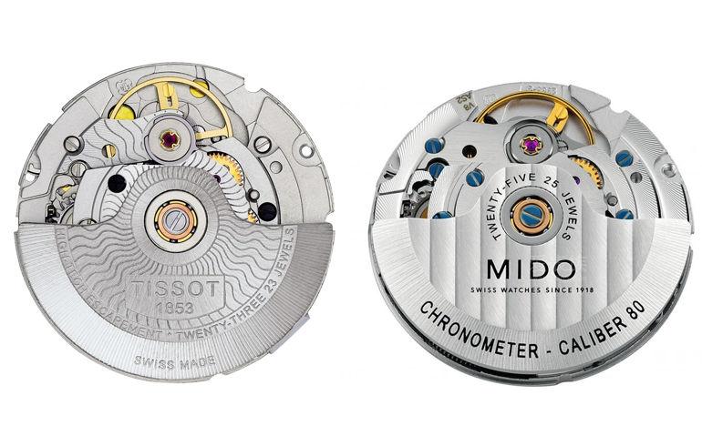 So sánh đồng hồ dùng máy ETA 2824-2 và Powermatic 80 - Powermatic 80 và Powermatic 80 Mido Silicon