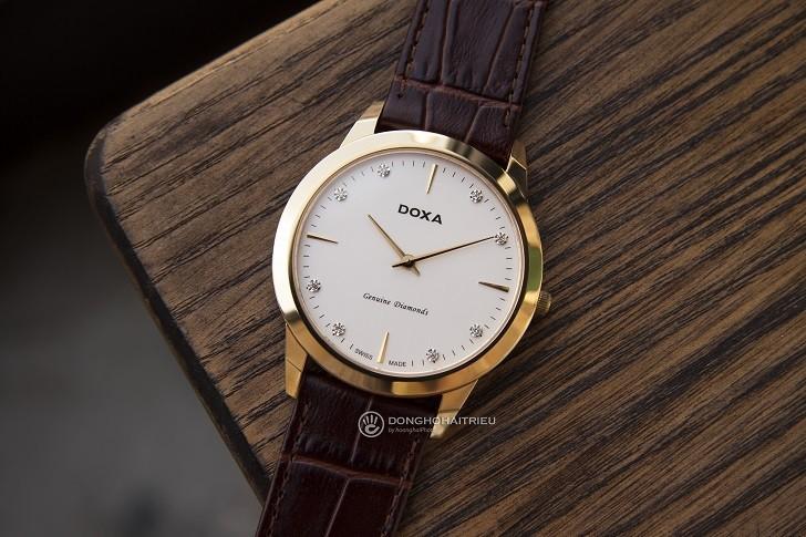 Đồng hồ Doxa D157KWH siêu mỏng, đính kim cương dành cho nam - Ảnh 1