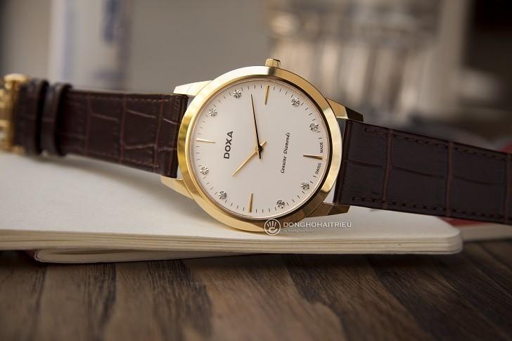 Đồng hồ Doxa D157KWH siêu mỏng, đính kim cương dành cho nam - Ảnh 2