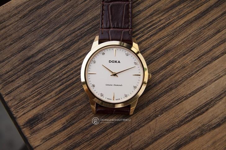 Đồng hồ Doxa D157KWH siêu mỏng, đính kim cương dành cho nam - Ảnh 4