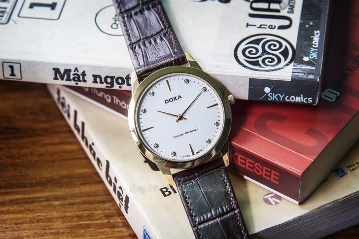 Đồng hồ Doxa D157KWH siêu mỏng, đính kim cương dành cho nam - Ảnh 7