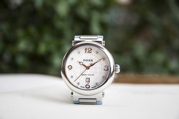 Đồng hồ Doxa D182SWB đính 8 viên kim cương trên mặt số xà cừ - Ảnh 6
