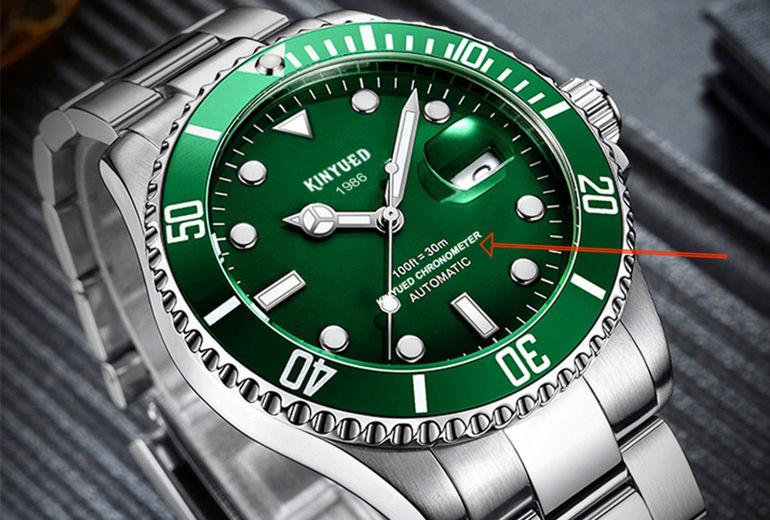 """dòng chữ """"chronometer"""" trên bản homage Rolex của Kinyued"""
