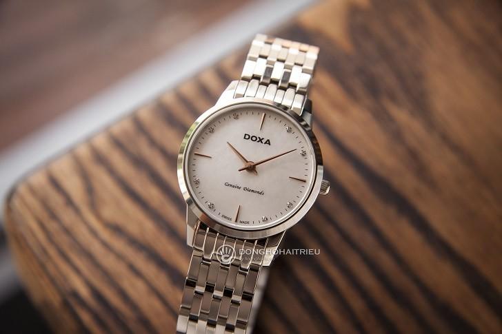 Đồng hồ Doxa D158SWH mặt xà cừ, 8 viên kim cương thật - Ảnh: 1