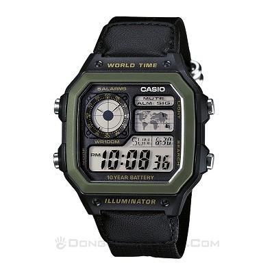 5 Mẫu đồng hồ quân đội chính hãng giá rẻ nhất, chỉ từ 1 triệu - Ảnh: Casio AE-1200WHB-1BVDF