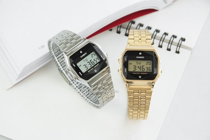Đồng hồ điện tử Casio A159WAD-1DF giá rẻ, đính kim cương - Ảnh: 1