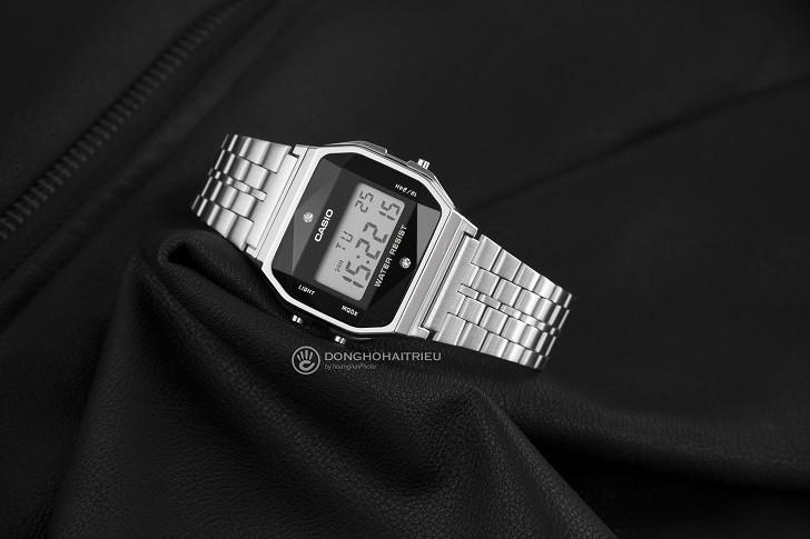 Đồng hồ điện tử Casio A159WAD-1DF giá rẻ, đính kim cương - Ảnh: 3