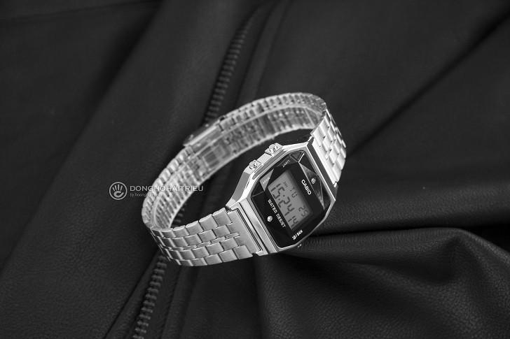 Đồng hồ điện tử Casio A159WAD-1DF giá rẻ, đính kim cương - Ảnh: 4