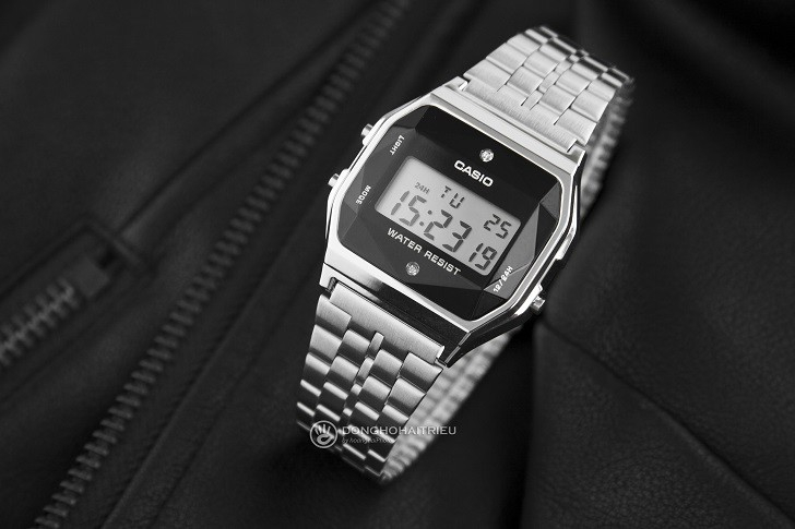Đồng hồ điện tử Casio A159WAD-1DF giá rẻ, đính kim cương - Ảnh: 6