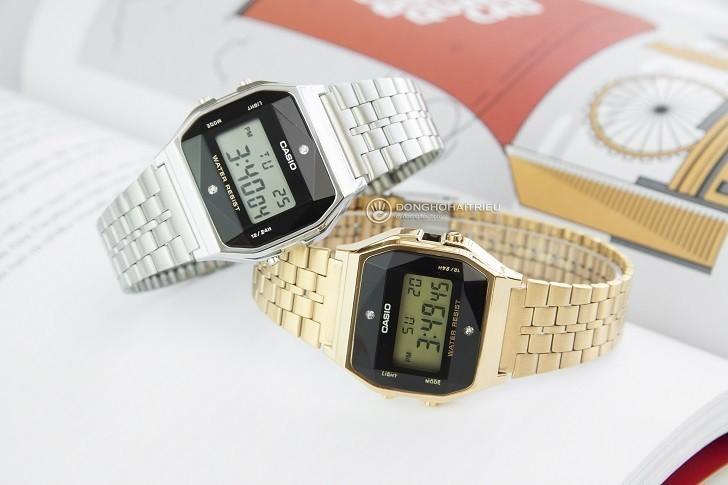Đồng hồ điện tử Casio A159WAD-1DF giá rẻ, đính kim cương - Ảnh: 7