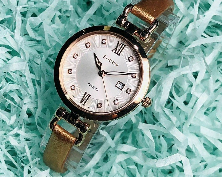 Đồng hồ nữ Casio SHE-4055PGL-7BUDF đính đá sang trọng - Ảnh 3