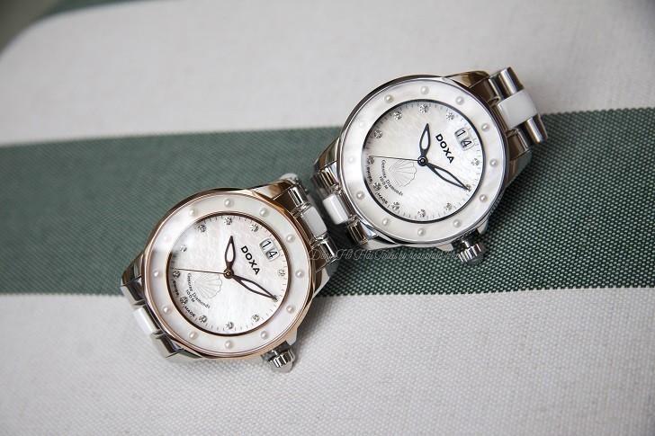 Đồng hồ đính kim cương Doxa D151RMW, khảm xà cừ thiên nhiên - Ảnh: 4