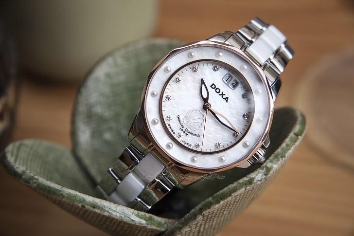 Đồng hồ đính kim cương Doxa D151RMW, khảm xà cừ thiên nhiên - Ảnh: 6