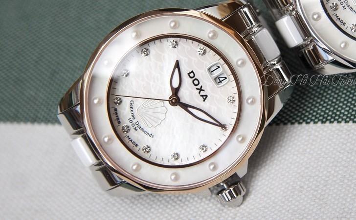 Đồng hồ đính kim cương Doxa D151RMW, khảm xà cừ thiên nhiên - Ảnh: 7