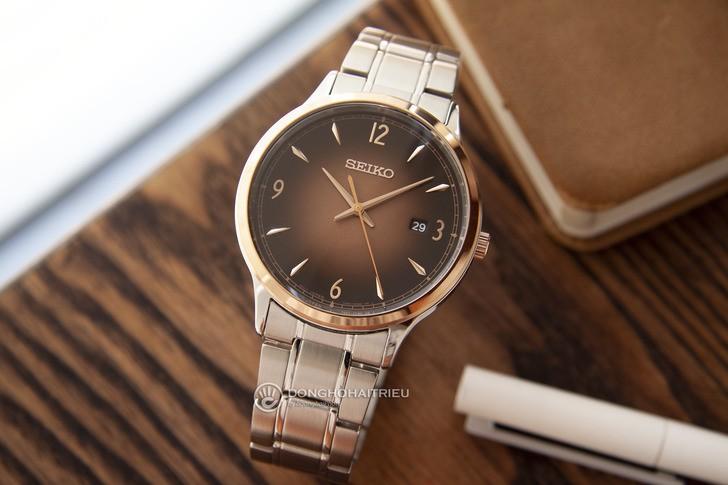 Đồng hồ Seiko SGEH90P1 máy quartz, mặt số màu nâu ấn tượng - Ảnh 2
