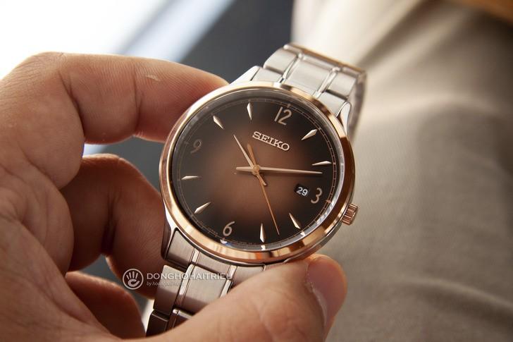 Đồng hồ Seiko SGEH90P1 máy quartz, mặt số màu nâu ấn tượng - Ảnh 3