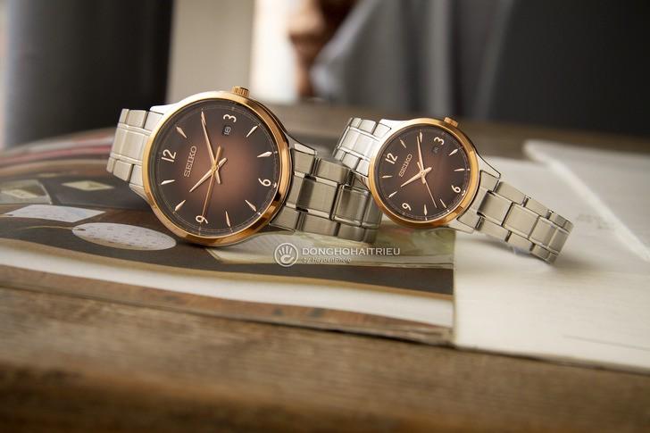 Đồng hồ Seiko SGEH90P1 máy quartz, mặt số màu nâu ấn tượng - Ảnh 5