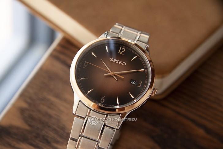 Đồng hồ Seiko SGEH90P1 máy quartz, mặt số màu nâu ấn tượng - Ảnh 7