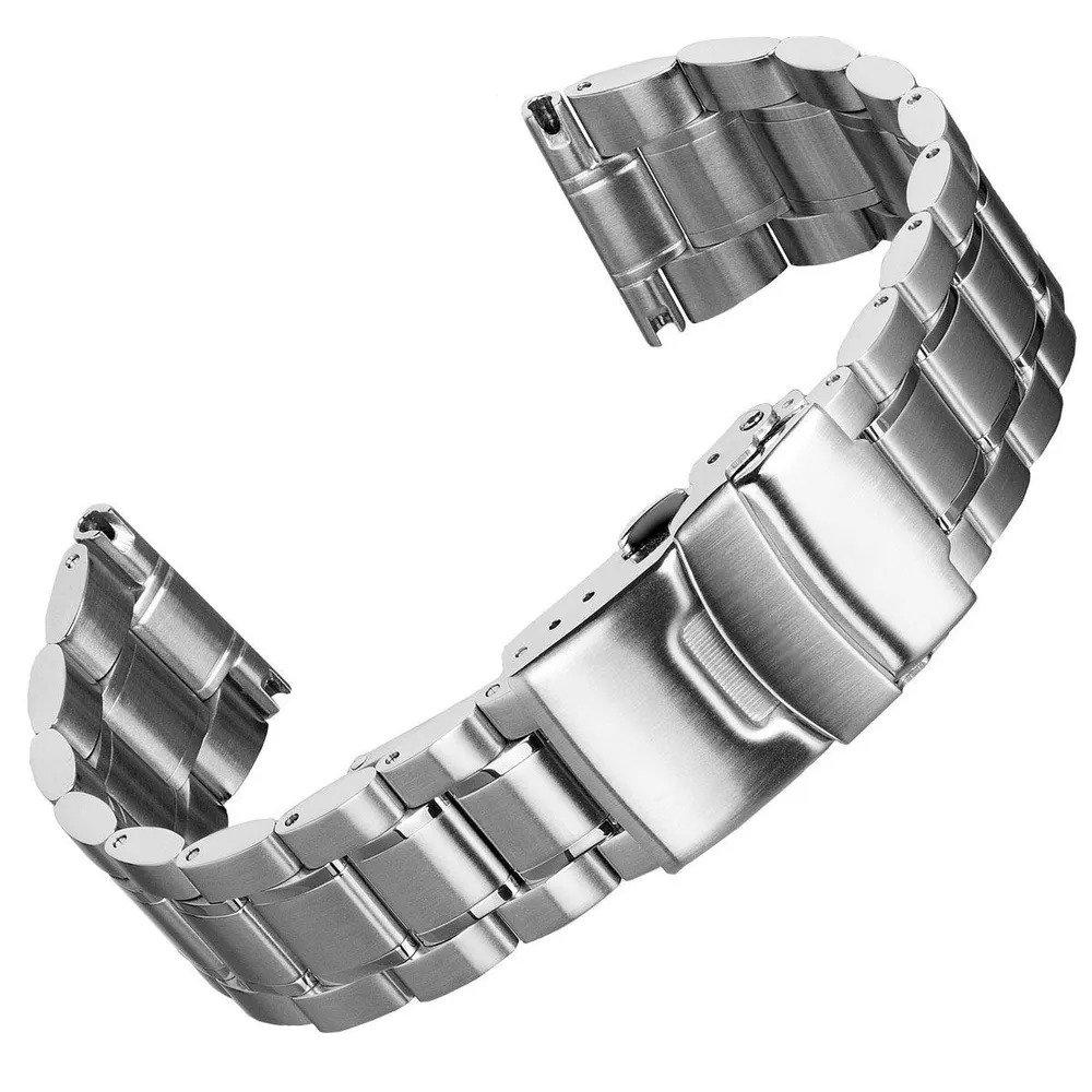 Một thiết kế dây đồng hồ kim loại hiện đại tương tự dây Oyster
