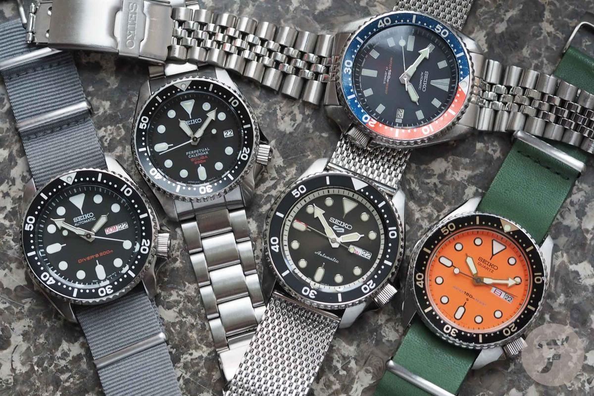 Từ trái qua: SKX007 (năm 1996), SBCM023 (năm 2003), SRPD73K1 (năm 2019), 7002 (năm 1988), 7548 (năm 1978)