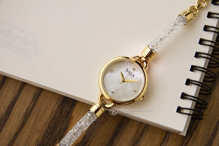Đồng hồ Saga 53555 GPMWGP-2 kết hợp trang sức Swarovski - Ảnh: 3