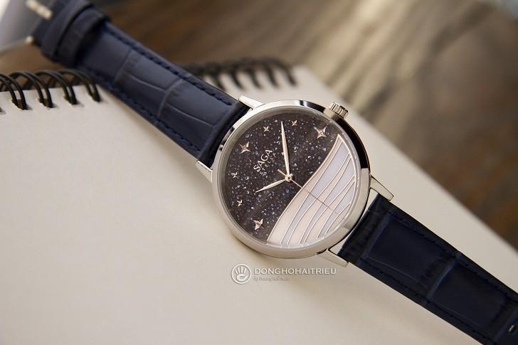 Đồng hồ Saga 53624 SVBLBL-2 mặt số bầu trời vì sao pha lê - Hình 2