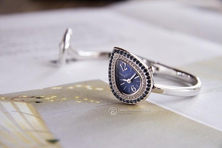 Đồng hồ Saga 71865 SVBLSV-2L mặt xà cừ xanh, đá Swarovski - Hình 1