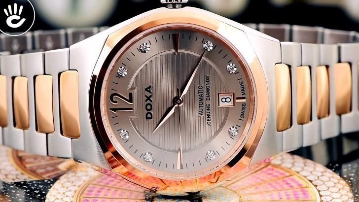 Đồng hồ Doxa D190RCM đính kim cương, máy cơ đẳng cấp - Ảnh: 5