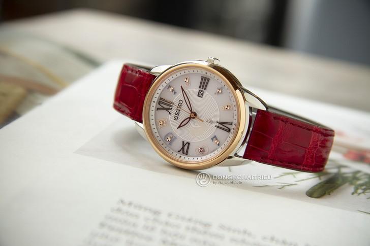 Đồng hồ Seiko SUT370J1 đính đá nổi bật, phối màu trẻ trung - Ảnh 3